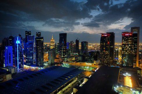 Doha skyline at night from the Shangri-La