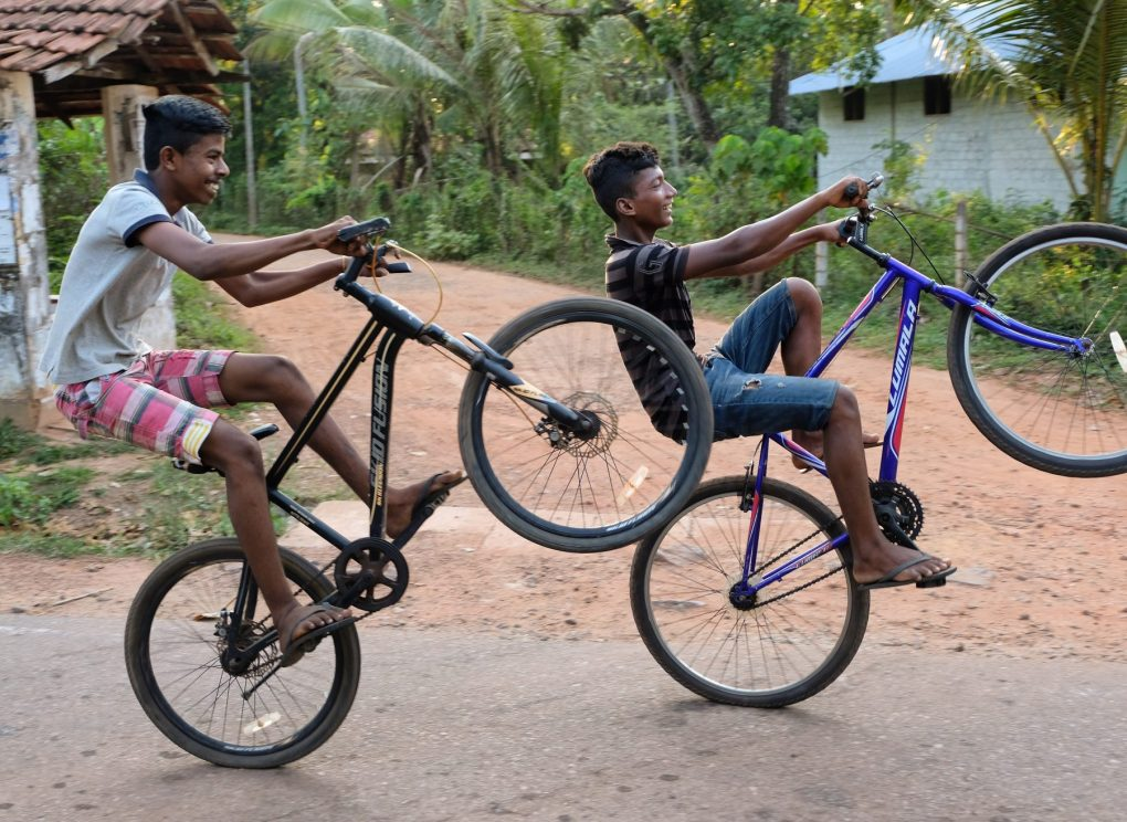 Sri Lanka locals on bikes