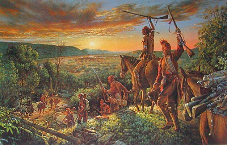 Victorious Indians return to Fort Duquesne after Braddock's Defeat.