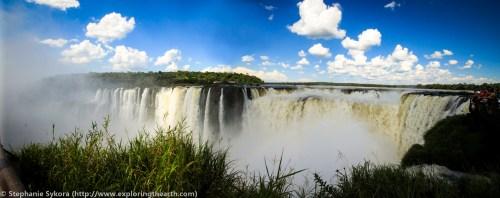 Iguazu Iguassu panorama Iguasu Falls Brazil Rainfores Waterfalls rainbow adventure travel 7 wonders of world argentina devil's throat South America