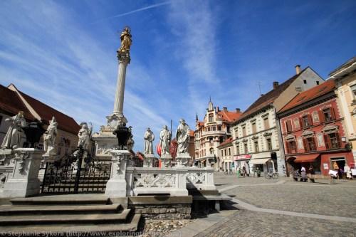 Maribor Slovenia Europe Culture Building Statue Eastern Travel Adventure Black Plague Monument