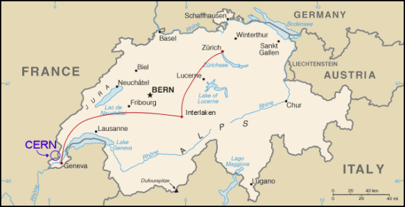 Switzerland, Map, CERN, particle accelerator, LHC, size, 27km, higgs bosom, Europe, Geneva