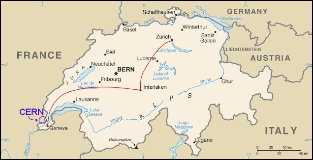 Switzerland, Map, CERN, particle accelerator, LHC, size, 27km, higgs bosom, Europe, Geneva
