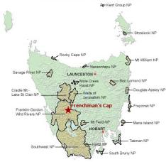 Tasmania, Australia, Frenchman's Cap, Frenchies, Franklin-Gordon Wild Rivers National Park, Bushwalking, Hiking, Camping, Adventure, Geology, Mountain, Quartzite, Folds, Peaks, Travel, Map