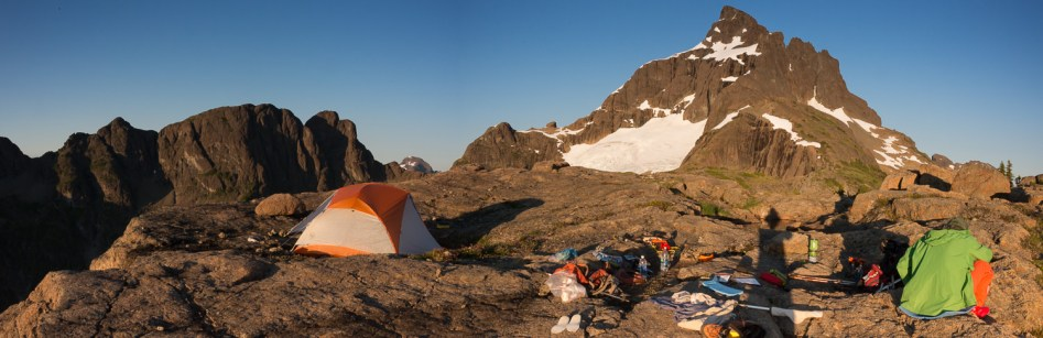 Our camp on the flattop overlooking looking up to Elkhorn Mountain