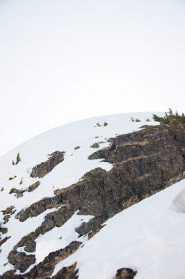 ascending the shelf to the final summit ridge at Alexandra Peak