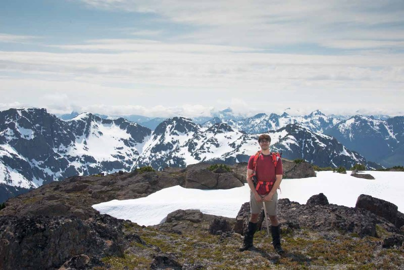 Matthew Lettington on the summit of Mount Palmerston. A fun climb on Vancouver Island, for sure!