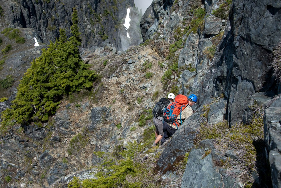 Phil and Rick descending the steep slope toward the notch in the Bonanza Range