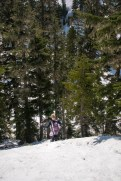 hiking over the compact snow
