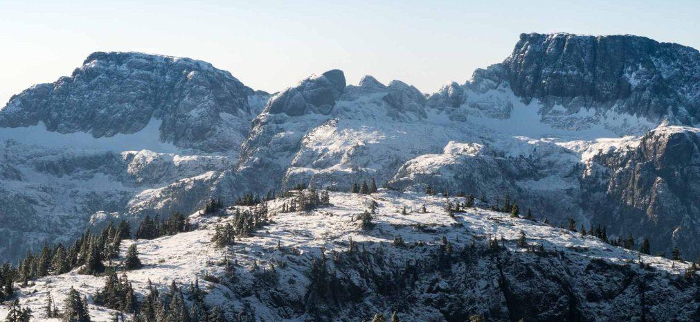 Genesis Mountain Summit, Mount Schoen in the distance.