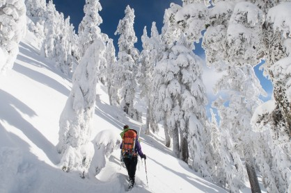 traversing a steep Vancouver Island snowslope on hike to Mount Elliot on Vancouver Island