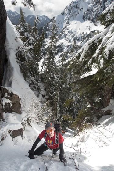 Jason climbing the gully to the upper ridge, on the way to Canoe Peak