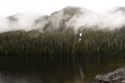 The lake in the hanging valley hiking to Mount Abraham on Vancouver Island