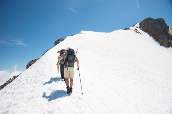 Following the ridge of snow to the summit of Big Interior Mountain