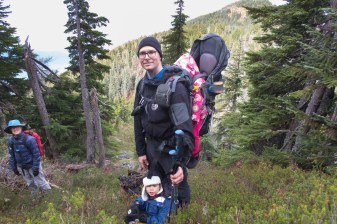 Hiking the ridge to the summit of Gemini Mountain