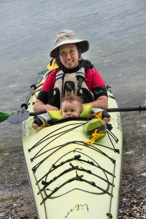 kayaking to Valdes Island with two kids