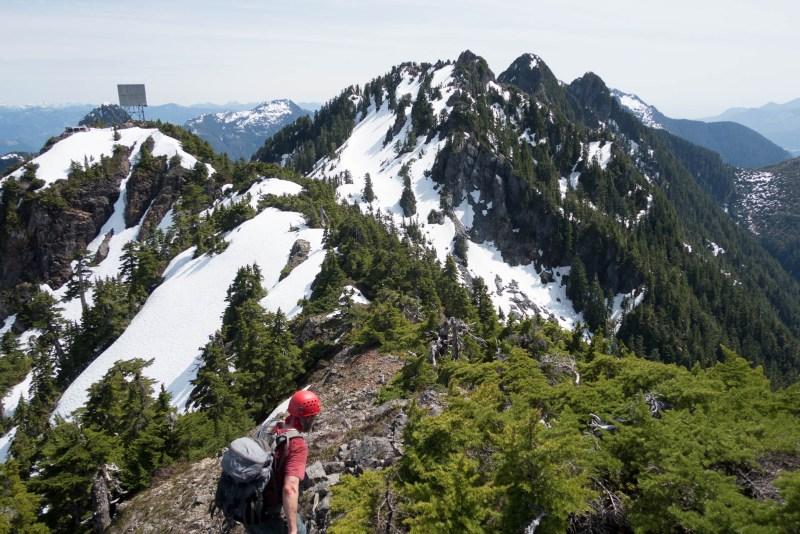 hiking on Vancouver Island to Tahsis Mountain, mountaineering