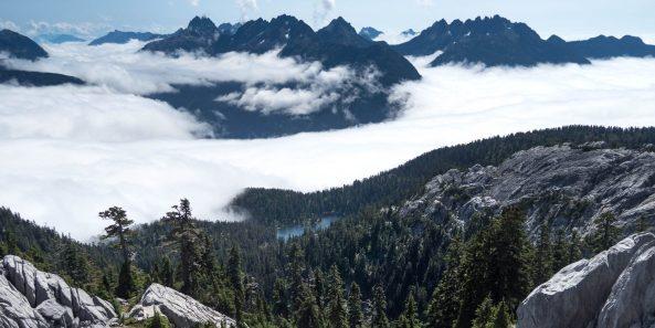 The Mackenzie Range: Triple Peak, Cats Ears Peak, Shadow Blade, Witches Hat, Red Wall, and Mackenzie