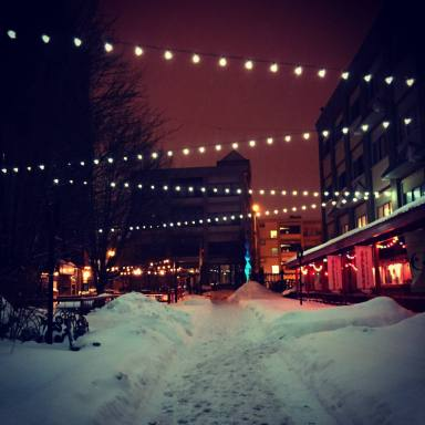 Village Gate Walkway with Lights in Rochester, New York