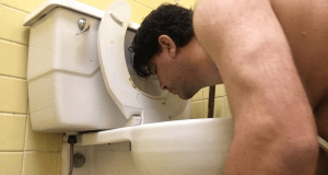 cockslut christopher marc cleaning toilet