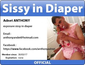 (SISSY ANTHONY – Faggot wearing diaper and pink little top)