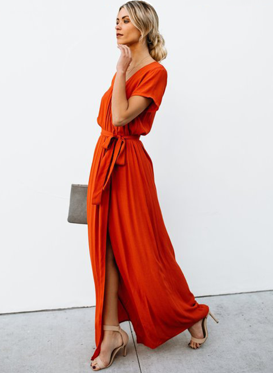 long dress with high slits