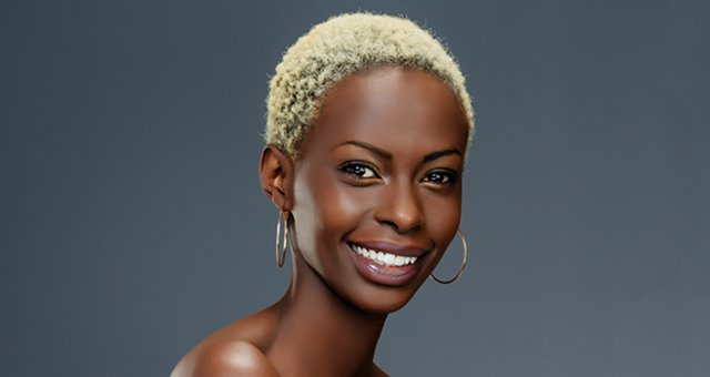 dark skin blonde hair