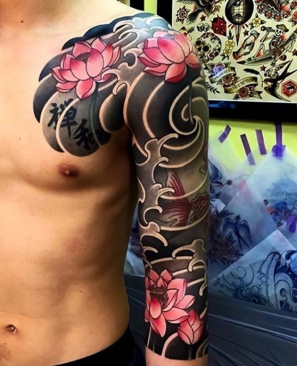 chinese flowers tattoo
