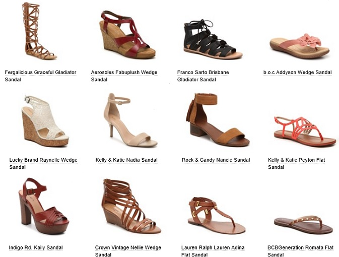 types of sandals and their names