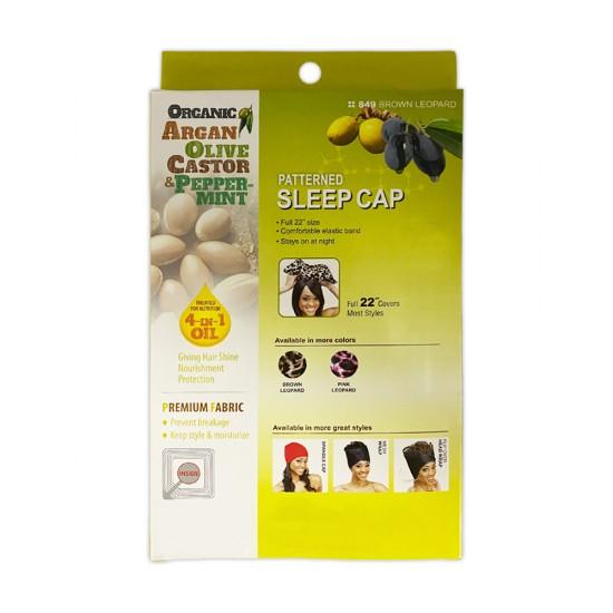 Ebo Organic Argan Olive Oil And Peppermint Treated Satin Bonnet Sleep Cap Patterned 849