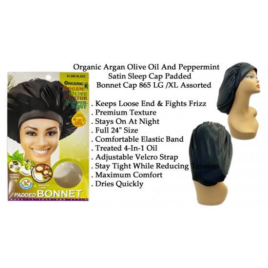 Ebo Organic Argan Olive Oil And Peppermint Treated Satin Sleep Cap Padded Bonnet Cap 865 LG /XL Assorted Color