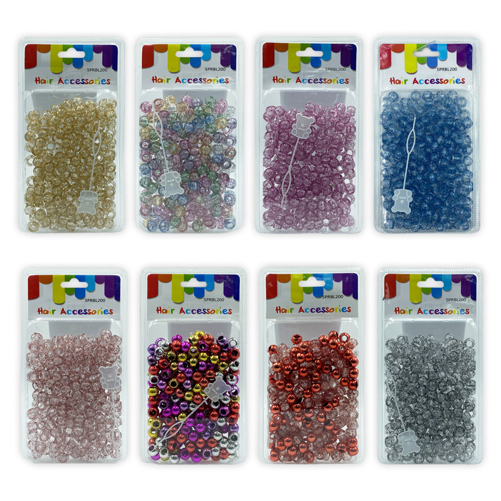 Ebo Glitter Color Round Plastic Hair Beads Braid Hair Glitter Gold 12 Mm 200 Pcs 4 Oz