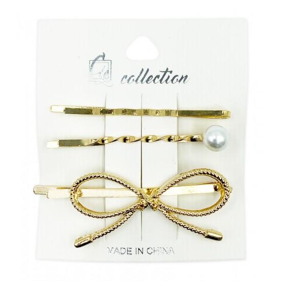 Ebo Fashion Pearl Hair Clip Bow Style 3 Pcs Gold
