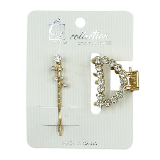 Ebo Fashion Pearl Hair Clip Style 2 Pcs Gold