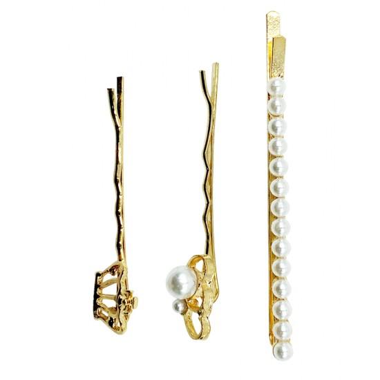 Ebo Fashion Pearl Hair Clip Crown Style 3 Pcs Gold