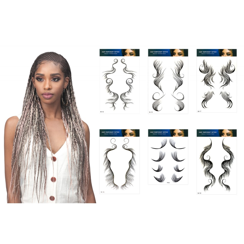 Ebo 10 Styles Baby Hair Tattoo Stickers Baby Hair Tattoo Edges Hair Bangs Curly Hair Styling Templates Waterproof And Lasting Tattoo 10 Pcs Assorted Styles