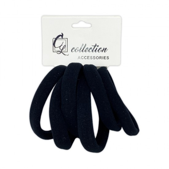 Ebo Medium Size Clothe Hair Elastics Scrunchies Hair Elastic Ponytail Holder Tie Hair Accessories Black 6 Pcs
