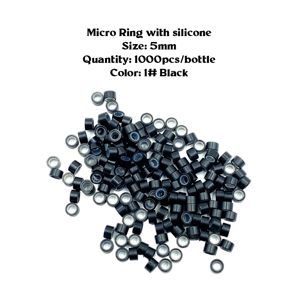 Ebo Premium Silicone Micro Rings 5mm I Tip Hair Extensions Silicone Lined Beads For Human Hair Extensions Tool 1000 Pcs Black