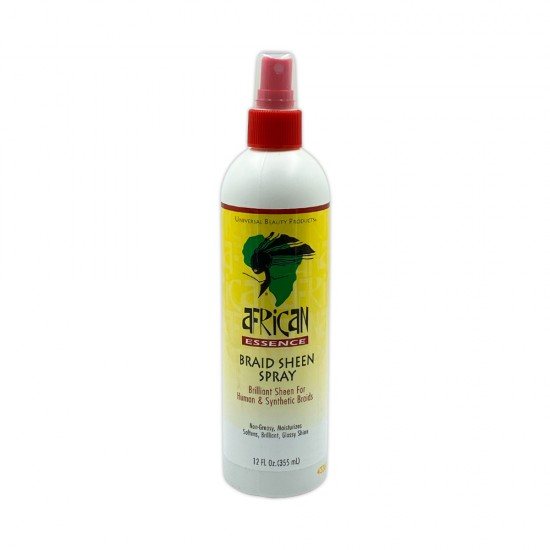 African Essence Braid Sheen Spray Brilliant Sheen For Human And Synthetic Braids Non Greasy Moisturizes Softens Brilliant Glossy Shine 12 Oz