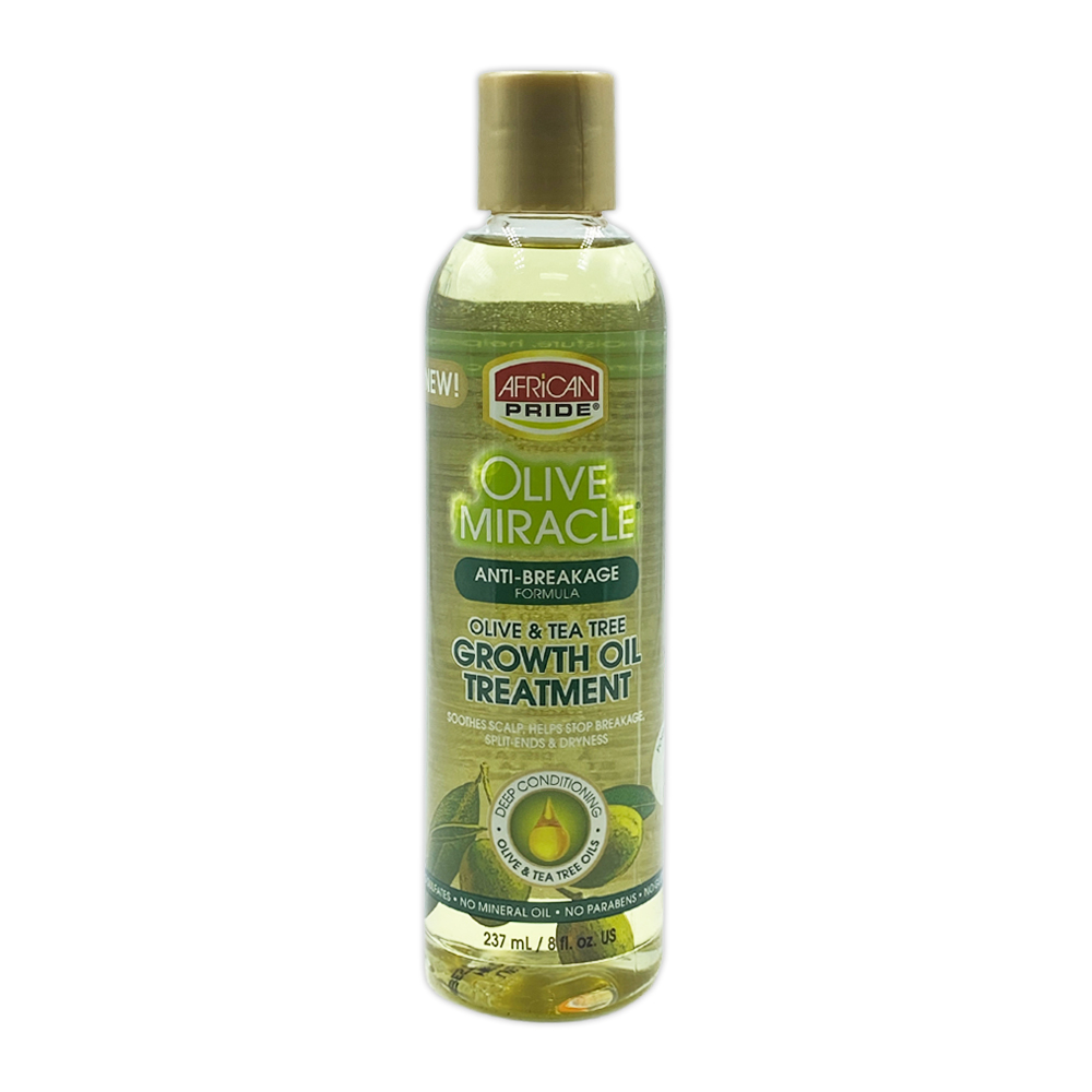 African Pride Olive Miracle Anti-breakage Formula Olive & Tea Tree Growth Oil Treatment Soothes Scalp 8 Oz