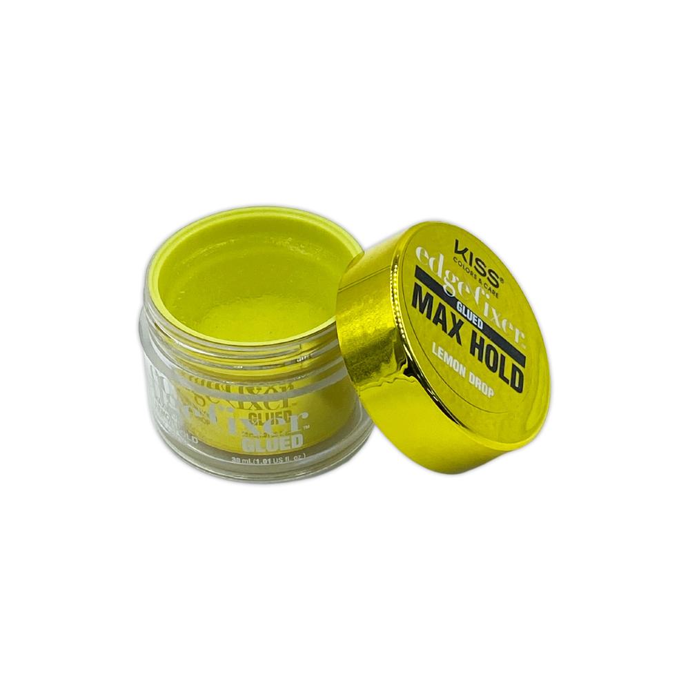 Kiss Color And Care Edge Control Fixer Glued Max Hold Lemon Drop 1 OZ
