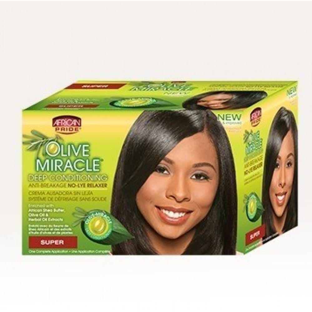 African Pride Olive Miracle No Lye Conditioning Creme Relaxer Kit Super