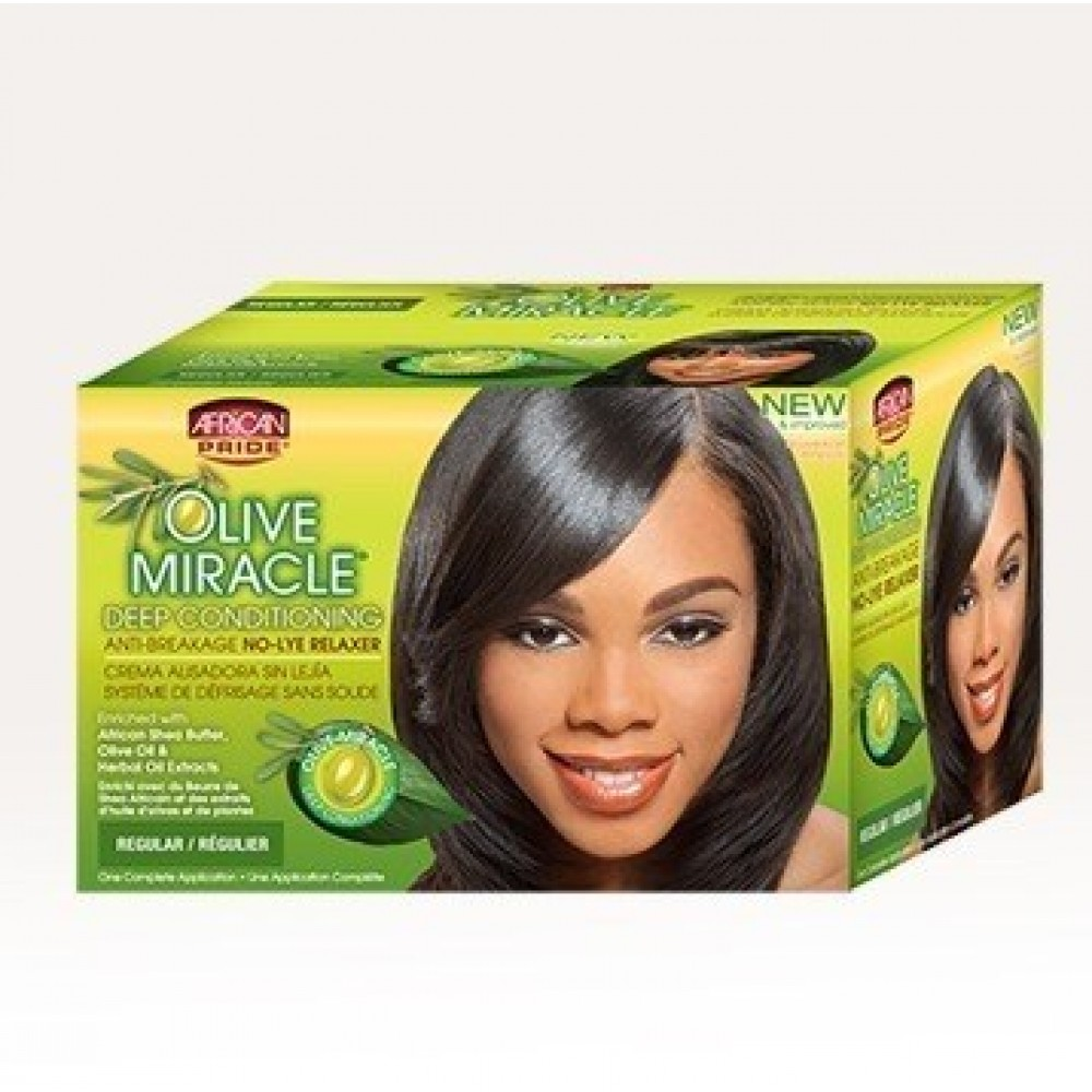 African Pride Olive Miracle No Lye Conditioning Creme Relaxer Kit Regular