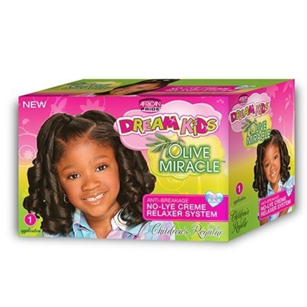 African Pride Dream Kids Olive Miracle No Lye Conditioning Creme Relaxer Kit Regular