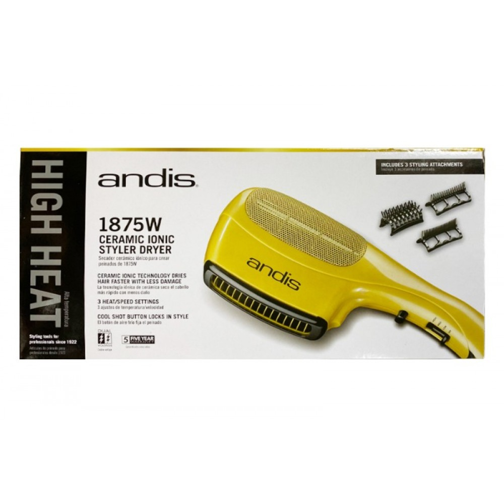 Andis Ceramic Ionic Styler Side Dryer 1875 W Gold 3 Attachment