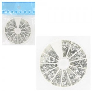 Ebo Round Case Rhinestone Shapes Clear Color & Pusher 100pc