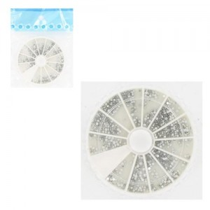 Ebo  Round Case Rhinestone Clear Color & Pusher 100pc