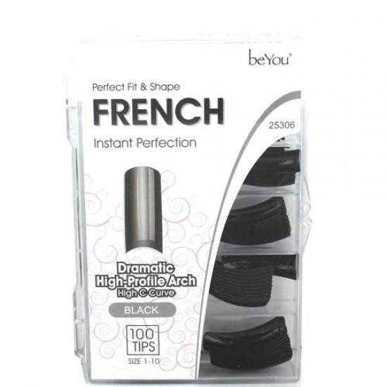 Ebo Be You Salon Color Nail French/royal 100tips/pk Black