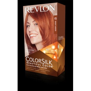 revlon colorsilk beautiful color permanent hair #45 bright auburn