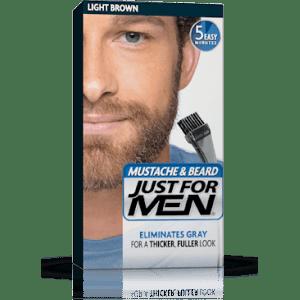 just for men brush-in color for mustache & beard - light brown
